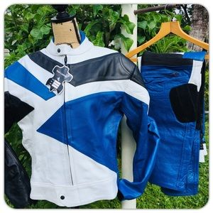 🆕✅Motorcycle Bike Racing Genuine Leather BlueSuit